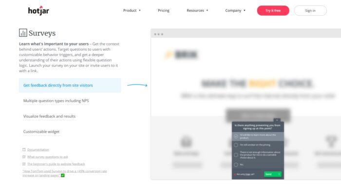 Customer Acquisition - Hotjar - Survey Tool