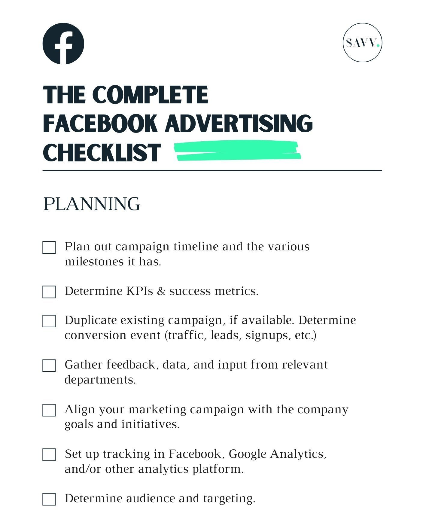 Facebook Advertising Checklist