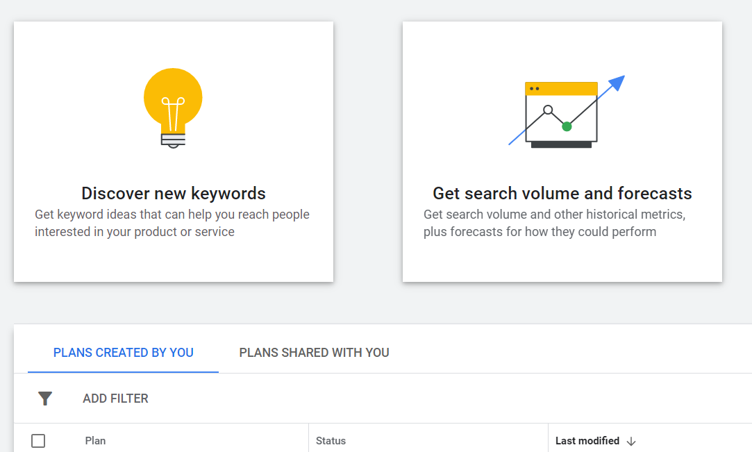 Keyword Planner - Discover Keywords