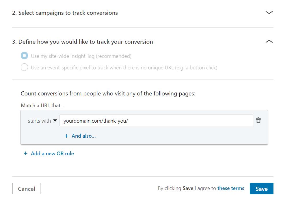 Create a Conversion Step 2