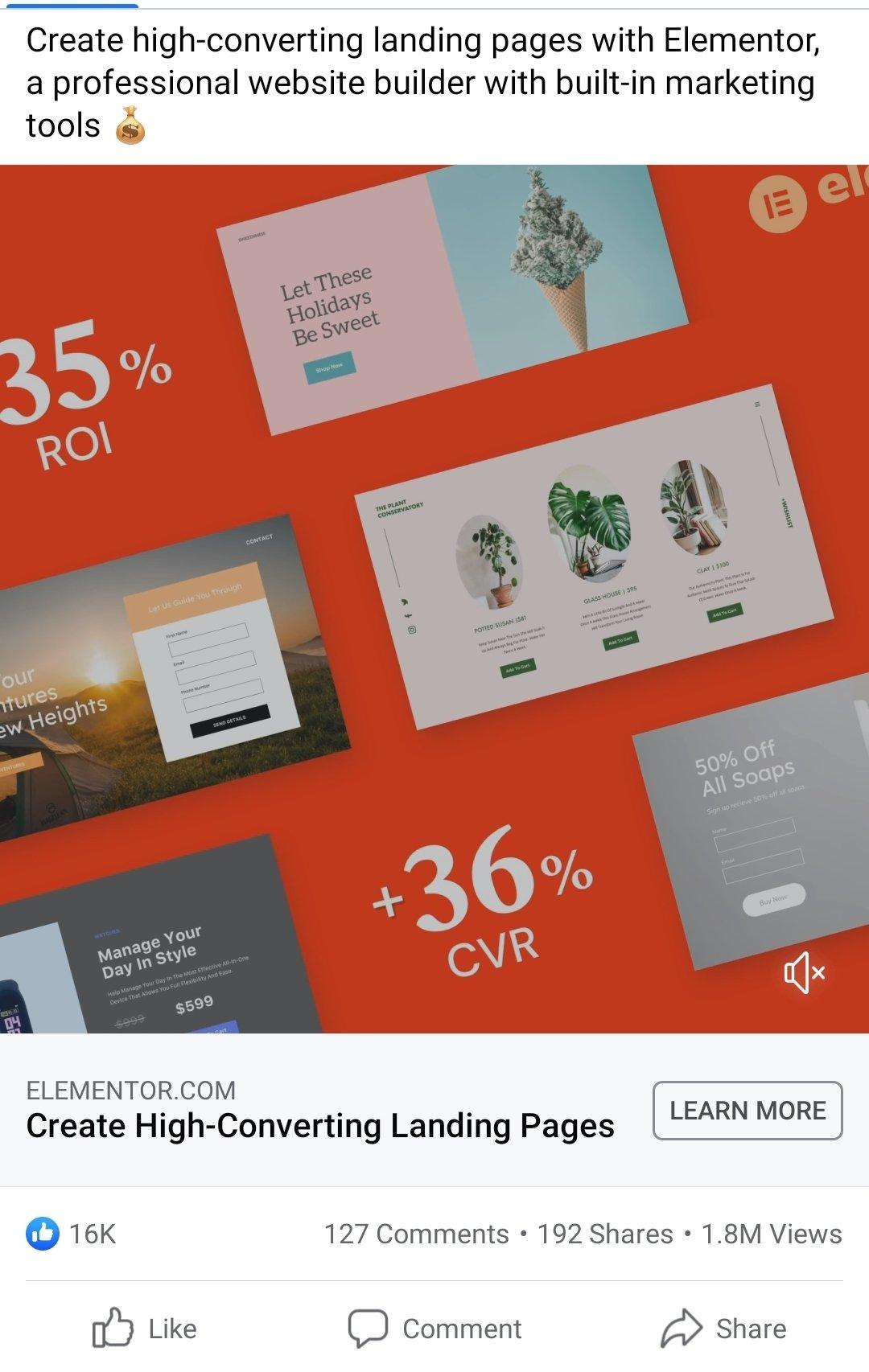 Facebook Ad Example - Elementor