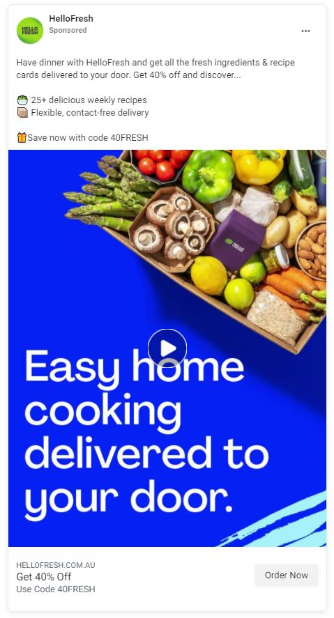 Facebook Ad Example - Hello Fresh